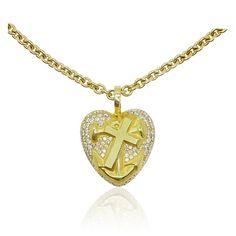 Necklace   Gold-Kette, Collier mit massivem Herzanhänger Glaube Liebe Hoffnung   1,061ct Diamanten