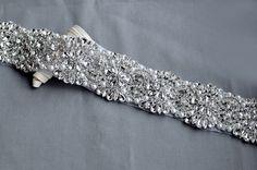Rhinestone Applique Bridal Crystal Trim Beaded Wedding Sash Belt Headband DIY 2   eBay