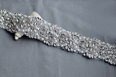 Rhinestone Applique Bridal Crystal Trim Beaded Wedding Sash Belt Headband DIY 2 | eBay
