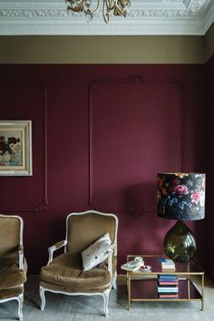 British paint manufacturer Farrow & Ball has expanded its extensive color card with nine new shades. Carefully chosen to balance Farrow & Ball'. Farrow Ball, Farrow And Ball Paint, Farrow And Ball Kitchen, Living Room Decor Colors, Living Room Red, Brown Walls, Red Walls, Magenta Walls, Interior Walls
