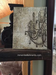 Grunge Chandelier Art on Canvas With French Typography Background.