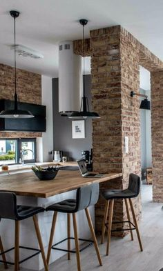 Small Apartment Kitchen, Kitchen Dinning Room, Home Decor Kitchen, Apartment Design, Small Apartment Decorating, Design Industrial, Sweet Home, Lofts, Tiny House Design