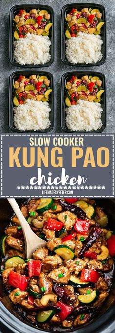 Skinny Slow Cooker or Instant Pot Kung Pao Chicken makes the perfect easy and lightened up healthy weeknight meal. Best of all, this takeout favorite, is SO much healthier and better than your local Chinese restaurant with just a few minutes of prep time. With gluten free and paleo friendly options. Weekly meal prep or leftovers are great for lunch bowls or lunch boxes for work or school. Instructions for crock-pot and IP pressure cooker
