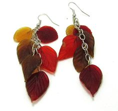 Golden Brown & Red Glass Leaf Dangle Earrings by SpiritualPathways, $10.00