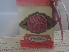 Pink Decorated  Lace  Dimentional Flower  Happy by ShoppeLaFluer, $3.60