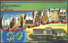 1940s Large Letter Greetings from Oklahoma  State Postcard