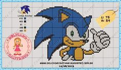 """Delicado Cantinho: Gráficos Ponto Cruz """"Sonic"""""""