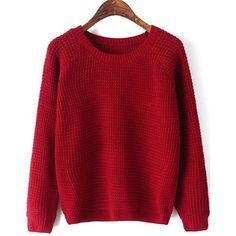 SheIn(sheinside) Red Round Neck Long Sleeve Chunky Sweater