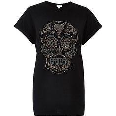 Zwart aansluitend boyfriend T-shirt met doodshoofdprint en studs - T-shirts met print / hemdjes - t-shirts/hemdjes - dames