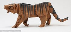 This tiger model was designed and folded by Quentin Trollip is 19cm long from tip of nose to end of tail (in this curved position)
