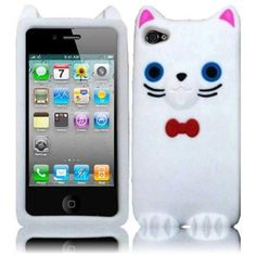 Protect your Apple #iPhone 4 with this stylish Apple iPhone #4S White Funny Cat #Silicone Skin Gel Cover Case from #Acetag ONLY $12.99