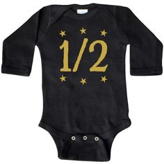 Inktastic Half Birthday Gold Stars Outfit Long Sleeve Creeper 1/2 6 Months Month Baby Clothes Clothing Cute Photo Old Girl Boy One Kids Childs Children For Happy Hws, Size: Newborn, Black