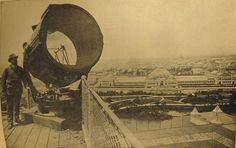 Tesla's search light atop the Government Building, Columbian Exposition, 1893, Chicago.