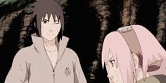 Sasusaku love! (: HE blushes <3