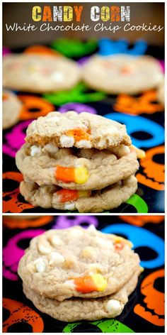 Soft and chewy cookies studded with creamy white chocolate chips and candy corn. #halloween #cookie #candy_corn
