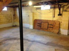 Basement flooring before..