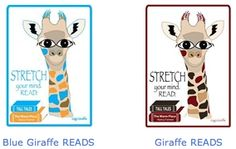 """A friend asked me to draw a giraffe, so I created two. """"Stretch yourself: READ"""" Can you see what book Gigi Giraffe is reading? (Hint: author is Nancy Farmer). Images have been added to the Library Advocacy Store (CSLA) and DesignClass sites on cafepress. What Book, Big Eyes, Farmer, Giraffe, Author, Draw, Reading, Store, Books"""
