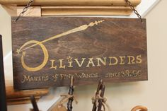 Ollivanders wand shop, hand painted sign