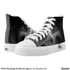 I'll Be Watching You Basset Zipz Unisex High Tops Printed Shoes