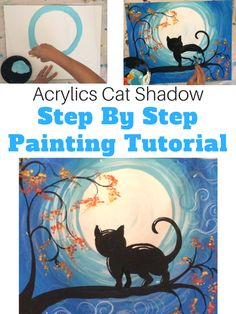 How to Paint a Cat Shadow and Moon - Tracie's Acrylic Canvas Tutorials #stepbysteppainting