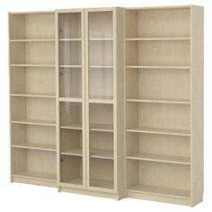 BILLY Bookcase combination with doors - birch veneer - IKEA  368.98