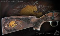 Blaser --- Stock for Blaser R93. Woodcarving middle class ; Hunting scenes created by the inlaid nacre (mother of pearl) and boxwood (buxus) of figures with a stylized abstract background, Inlays-white metal