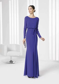 Purple gown with blouson bodice and sash