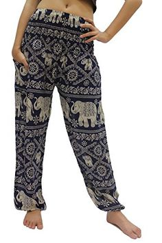 d27d75dc5305b Bangkokpants Women s Harem Pants Bohemian Clothes Boho Yoga Hippie Pants  Smocked Waist  Convenie…