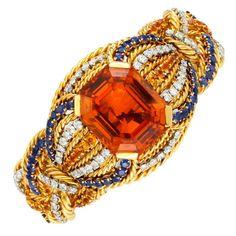 Citrine, Sapphire, and Diamond Bracelet