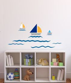 Wall decoration for children's room, home design for little sailors – Wall Decal SAILBOAT marine, wall sticker, kids – a unique product by LoonyBinWorkshop via en.dawanda.com
