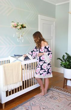 """ispydiy_nurserymakeover20 -- """"We picked a blueish gray (Desert Lake HGSW3295) from the same HGTV HOME™ by Sherwin-Williams Color Card as Icy Avalanche, Inspired Interiors, because we knew both colors would complement each other to create a tranquil bedroom for the new little one."""""""