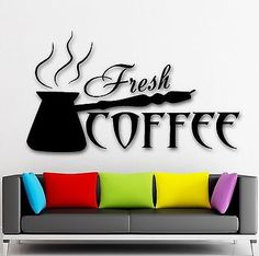 Vinyl Decal Coffee Cup Cafe Tea Kitchen Decor Wall Stickers Mural - Custom vinyl wall decals coffee