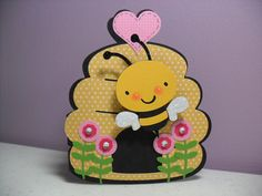 Handmade Bee Card - Wobbler Card - Birthday, Thinking of You, Just Because