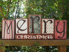 Merry Christmas Wooden Blocks Christmas by BeDazzledByMichelle