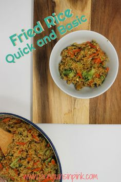 Quick and basic fried rice is made with leftover rice and mixed with scrambled eggs, mixed frozen veggies garlic and ginger and topped with soy sauce, sesame oil, or sriracha mayo. Main Dishes, Side Dishes, Rice Ingredients, Leftover Rice, Broccoli Beef, How To Double A Recipe, Fresh Garlic, Sesame Oil, Scrambled Eggs