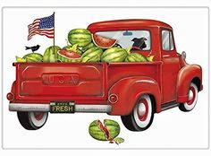 "Red Watermelon Farm Truck 100% Cotton Flour Sack Dish Tea Towel - Mary Lake Thompson 30"" x 30"""