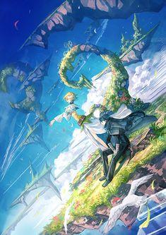 Children of the Rune - Tales Weaver - Mobile Wallpaper - Zerochan Anime Image Board Fantasy Art Landscapes, Fantasy Landscape, Illustrations, Illustration Art, Environment Concept Art, Fantasy Weapons, Landscape Pictures, Anime Scenery, Fantastic Art