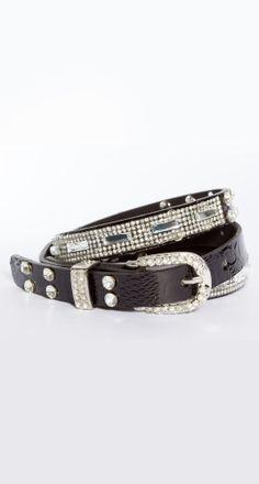 bling medium belt - black