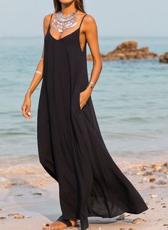 Arabian Solid None Camisole Neckline A-line Dress the latest fashion & trends in women's collection. Day Dresses, Casual Dresses, Summer Dresses, Dresses Online, Summer Maxi, Casual Outfits, Ladies Dresses, Spring Summer, Girly Outfits