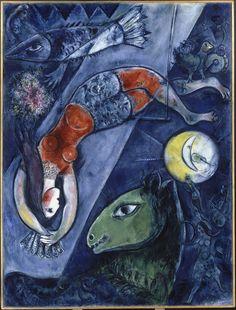 Marc Chagall (1887 - 1985)  Le cirque bleu 1950 - 1952 Huile sur toile de lin 232,5 x 175,8 cm. Centre Pompidou