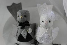 Bird  Wedding cake topper -  Bird Cake topper - dark grey black and off white  linen lace fabric ready to ship. $74.00, via Etsy.