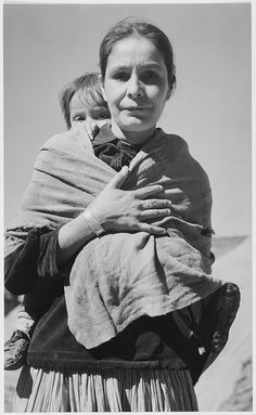 """""""Navajo Woman and Child, Canyon de Chelle, Arizona."""" [Canyon de Chelly National Monument] (vertical orientation) by The U.S. National Archives"""