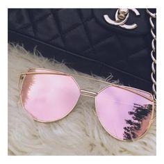 Rose Gold Mirrored Sungalsses, Cat Eye Sunglasses Oculos De Sol Espelhado,  Roupas Elegantes, 7b1f1371ff