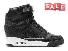 Nike Air Revolution Sky Hi GS - Chaussure Montante Nike Pas Cher Pour Femme Noir/Noir-Dark Armory Bleu 599410-003