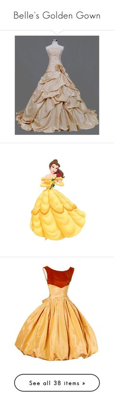 """""""Belle's Golden Gown"""" by glendolyne ❤ liked on Polyvore featuring dresses, gowns, long dresses, wedding dresses, long beige dress, beige dress, wedding, disney, characters and beauty and the beast"""