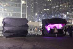 origami kiosks by make architects at canary wharf in london, england, UK