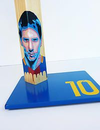 Messi Unique handcrafted handpainted by QrtosCreations Handmade Table, Handmade Wooden, Handmade Gifts, Messi 10, Wooden Table Lamps, Boyfriend Gifts, Home Accessories, Birthday Gifts, Vibrant