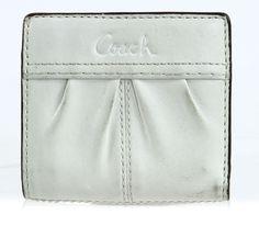 Coach Beige Leather Mini Bi-Fold Organizer Clutch Wallet #Coach #MiniWallet #Everyday