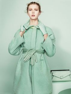 """GOOD IDEA: THE COAT SWAP http://thesymmetric.com/  Emilio Pucci coat from """"Candylike Pastel Coats to Brighten up Fall"""" spread in T Magazine (August 19, 2013).  Photo by Paul Wetherell, styling by Vanessa Traina."""