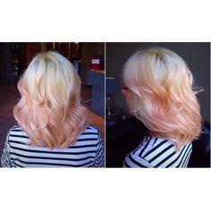 Pastel pink balayage on platinum hair. Subtle like this